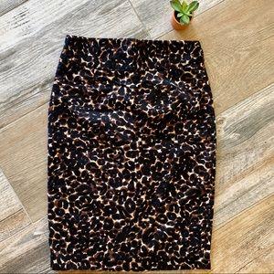 Grace Elements Cotton Leopard Knee Length Skirt